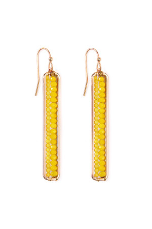 S4-6-3-AHDE1918MU MUSTARD BAR CUTOUT BEADED DROP EARRINGS/6PAIRS