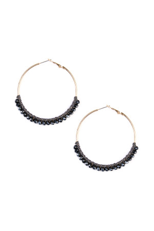 S4-6-3-AHDE1924BK BLACK BEADS HOOP EARRINGS/6PAIRS