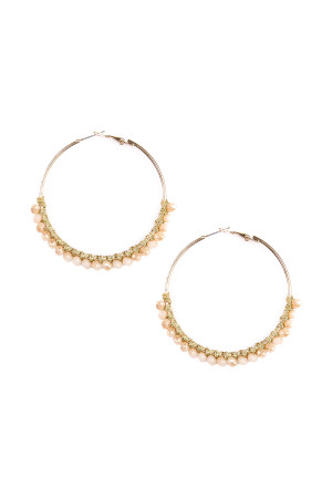 S4-6-3-AHDE1924LBR LIGHT BROWN BEADS HOOP EARRINGS/6PAIRS