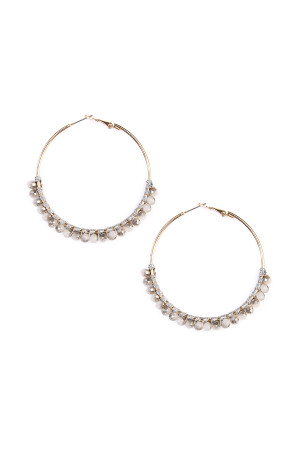 S4-6-3-AHDE1924LGY LIGHT GRAY BEADS HOOP EARRINGS/6PAIRS