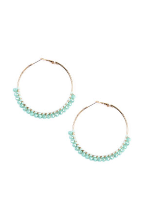 S4-6-3-AHDE1924MN MINT BEADS HOOP EARRINGS/6PAIRS