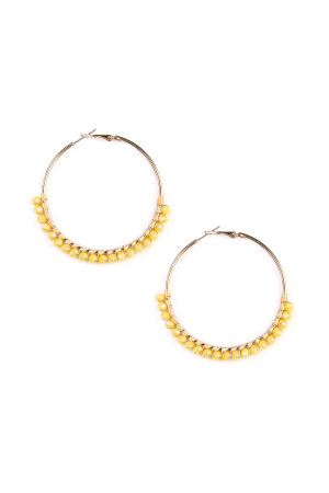 S4-6-3-AHDE1924YW YELLOW BEADS HOOP EARRINGS/6PAIRS