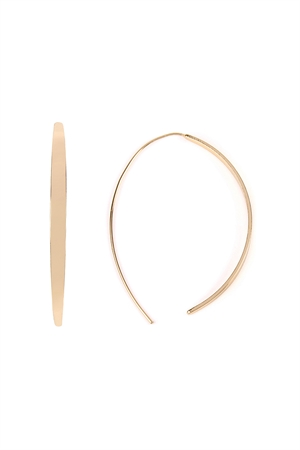 S4-5-4-AHDE2153G GOLD CURVE BRASS OPEN HOOP EARRINGS/6PAIRS