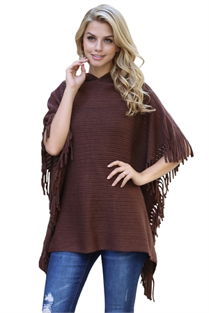 S7-4-5-AHDF2096BR BROWN HOODED FRINGED CAPE PONCHO/6PCS