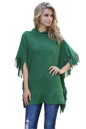 S5-5-5-AHDF2096GR GREEN HOODED FRINGED CAPE PONCHO/6PCS
