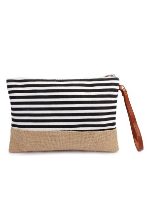 S6-4-3-AHDG1469BK Black Striped Cosmetic Pouch/6PCS