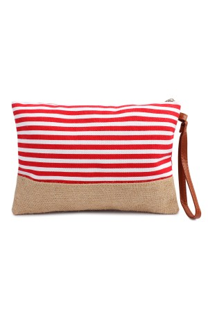 S6-4-3-HDG1469RD Red Striped Cosmetic Pouch/6PCS