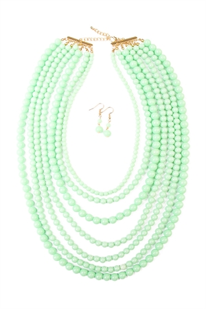 S6-6-4-AHDN1365LMN MULTILAYER ACRYLIC MINT NECKLACE & EARRING SET/6SETS