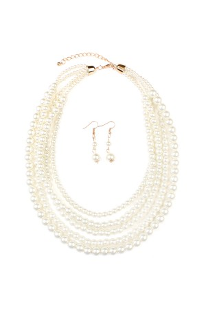 S7-6-2-AHDN1442 CLASSIC PEARL LAYER NECKLACE AND EARRING SET/6SETS