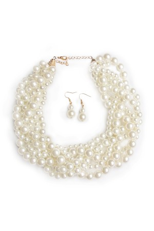 S5-6-4-AHDN1443 BRAIDED PEARL NECKLACE AND EARRING SET/6SETS