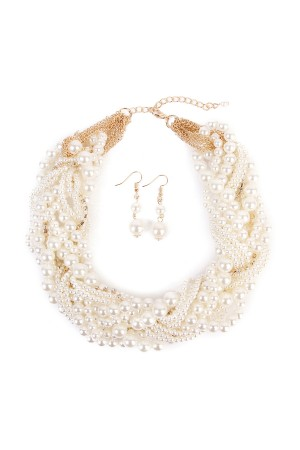 S7-6-2-AHDN1559 GOLD PEARL BUBBLE NECKLACE AND EARRING SET/6PCS