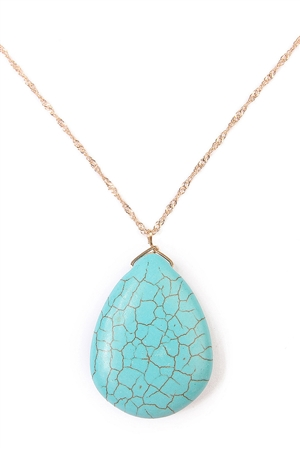 S6-5-4-AHDN1561G GOLD TURQUOISE NECKLACE/6PCS