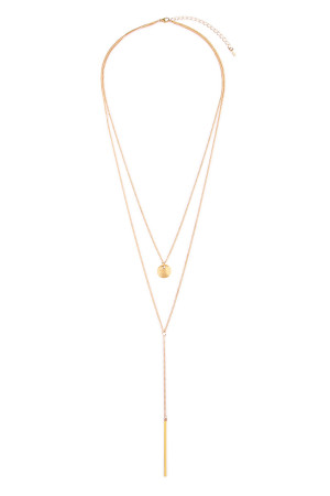 S6-6-4-AHDN1603G GOLD PENDANT LAYERED NECKLACE/6PCS