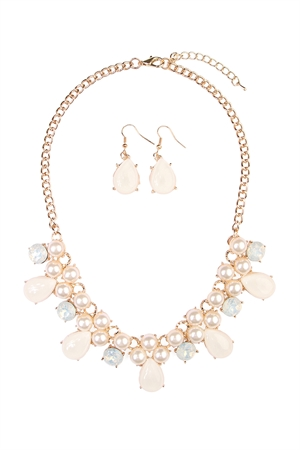 S7-4-2-AHDN1617NA NATURAL TEARDROP BEADE STATEMENT NECKLACE AND EARRING SET/6SETS