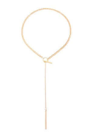 S6-5-2-AHDN1628G GOLD CHAIN LARIAT PENDANT NECKLACE/6PCS