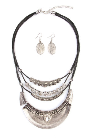 S6-5-3-AHDN1773BS BURNISH SILVER BOHEMIAN NECKLACE/6PCS