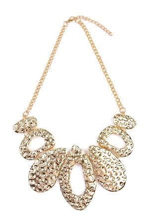 S7-4-2-AHDN1780G GOLD HAMMERED BIB STATEMENT NECKLACE/6PCS