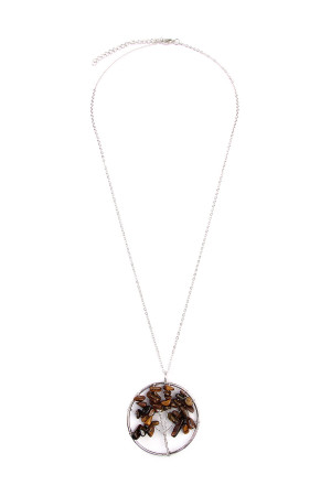 S5-5-2-AHDN1824BR BROWN TREE OF LIFE LONGLINE NECKLACE/6PCS