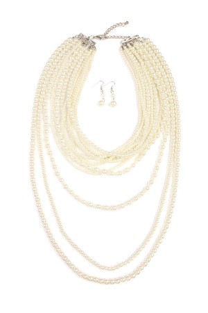 S6-5-3-AHDN1827NA-PEARL LAYER AND NECKLACE EARRING SET-NATURAL/6PCS