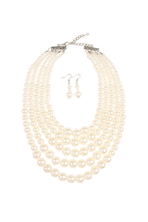 S6-4-1-AHDN1829NA NATURAL CHUNKY PEARL NECKLACE AND EARRING SET/6SETS