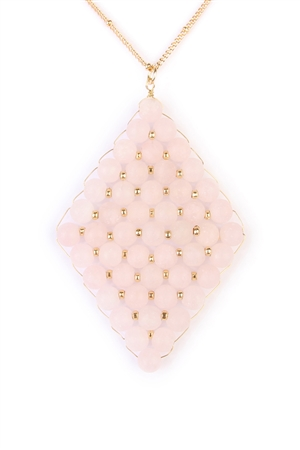 S4-4-3-AHDN1864LPK LIGHT PINK WIRED STONE PENDANT NECKLACE/6PCS