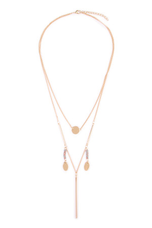 S4-4-2-AHDN1922G GOLD LAYERED LARIAT NECKLACE/6PCS