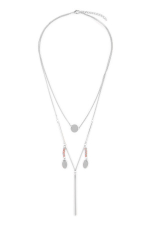 S4-4-2-AHDN1922R SILVER LAYERED LARIAT NECKLACE/6PCS