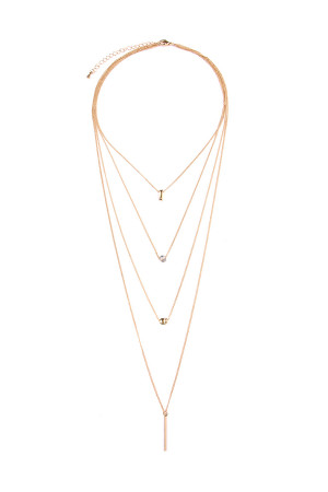 S6-4-3-AHDN1926G GOLD FOUR LAYERED NECKLACE/6PCS