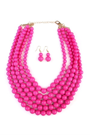 S5-6-4-AHDN2038FS-MULTILAYER BEAD BIB STATEMENT NECKLACE AND HOOK EARRING SET- FUCHSIA/6PCS