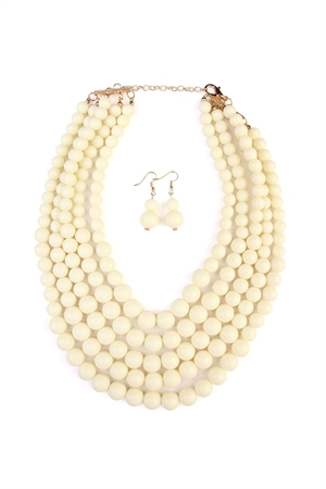 S6-6-2-AHDN2038NA NATURAL MULTILAYER BEAD BIB STATEMENT NECKLACE AND HOOK EARRING SET/6SETS