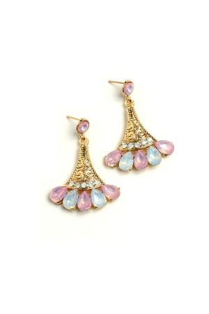 204-1-1-RER0597R6 MULTI STONE DESIGN DROP EARRINGS/12PCS