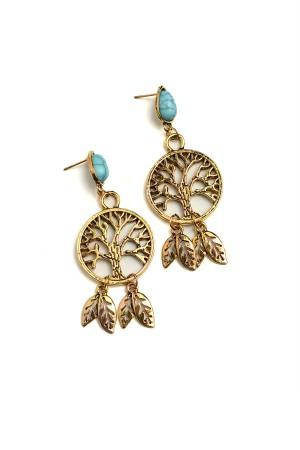 204-1-2-RER0588R3 TREE DESIGN LEAF SHAPE GEM DROP EARRINGS/12PCS