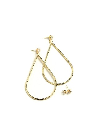 206-1-2-PER7276GD TEARDROP SHAPE HOOP EARRINGS/12PCS
