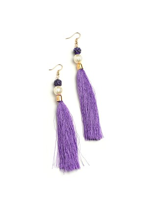 206-1-5-ME17629 STONE & PEARL TASSEL DROP EARRINGS/12PCS