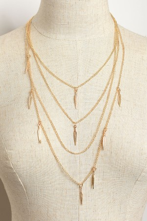 206-1-3-MS42434 MULTI FEATHER SHAPE CHAIN NECKLACES/12PCS