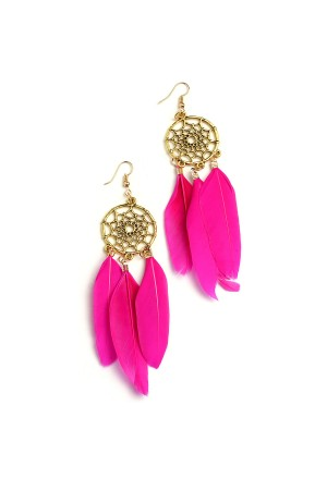 207-1-2-IER2668 TRIPLE FEATHER DREAMCATHER SHAPE EARRINGS/12PCS