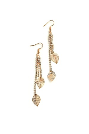 207-1-4-IER2489 DOUBLE LEAF SHAPE STONE DROP EARRINGS/12PCS