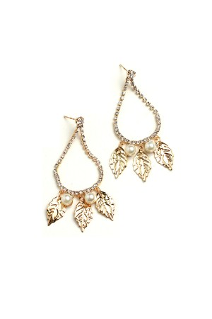 206-2-2-IER2665 TRIPLE LEAF SHAPE PEALR STONE HOOP EARRINGS/12PCS