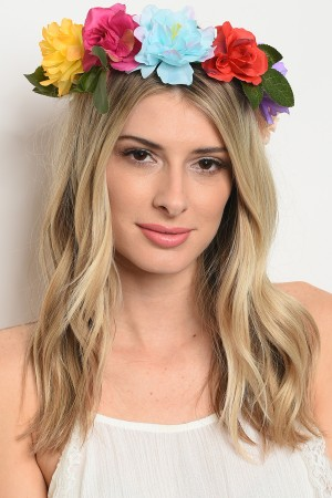 S6-4-5-QHX2023MTX ASSORTED FLOWER HEADWRAP/12PCS