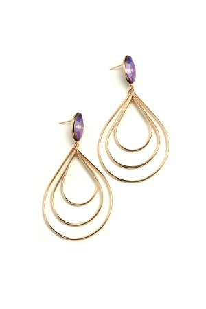 206-2-4-AE1996 TRIPLE LAYER GEM HOOP EARRINGS/12PCS