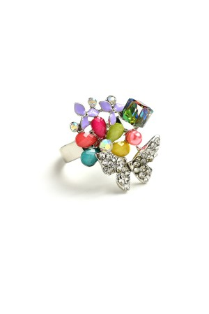 207-2-4-AR1714 BUTTERFLY SHAPE GEM RINGS/12PCS