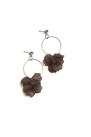 205-1-4-ER5852 FLORAL SHAPE HOOP EARRINGS/12PCS