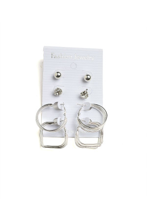 201-1-2-AE2389S STONE & PEARL HOOP EARRINGS/12PCS