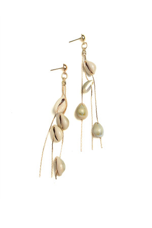 201-1-3-AE2971 SHELL SHAPE DROP EARRINGS/12PCS