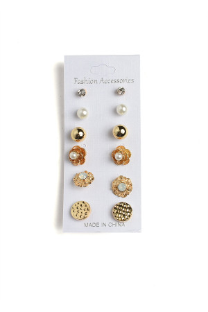 201-2-4-AE3124 FLORAL SHAPE PEARL & STONE EARRINGS/12PCS