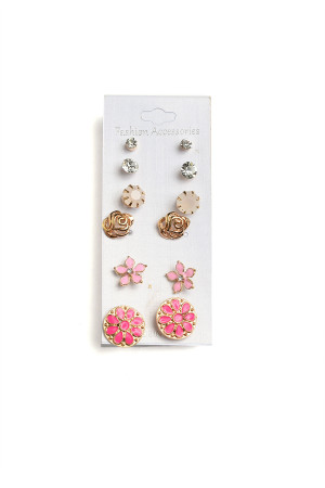 201-2-4-AE3127 FLORAL SHAPE STONE EARRINGS/12PCS