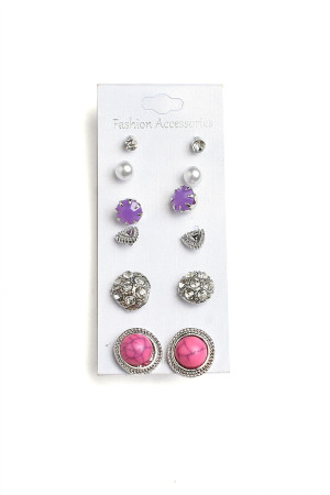 201-2-5-AE3125 STONE PEARL & GEM EARRINGS/12PCS