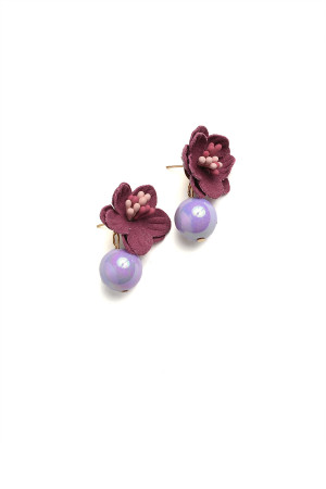 201-3-4-AE3179 FLORAL SHAPE PEARL EARRINGS/12PCS
