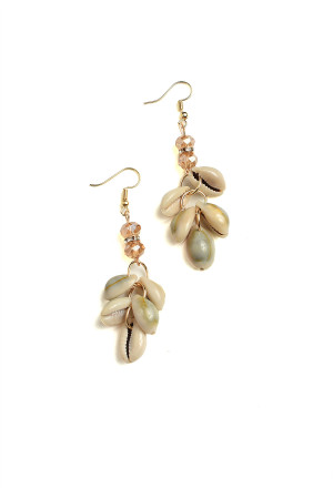 201-4-3-AE2974 SHELL SHAPE DROP EARRINGS/12PCS