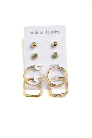 201-4-2-AE2389G PEARL STONE HOOP EARRINGS/12PCS